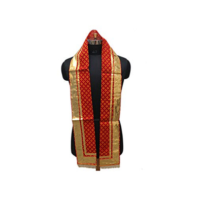S H A H I T A J Traditional Rajasthani Unisex Cotton Red Uparna/Stole for Social Occasions/Bhagwan or God's Idols (DS414) (Pack of 3 Pieces)-ST574
