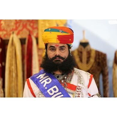 S H A H I T A J Traditional Rajasthani Cotton Multi-Colored Jodhpuri Gol Pheta Pagdi Safa or Turban for Kids and Adults (RT458)-ST22_22andHalf