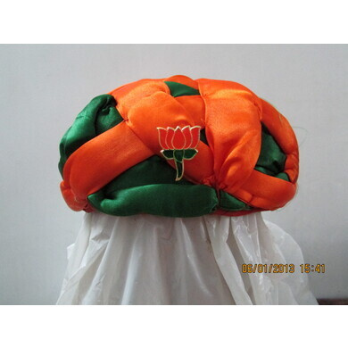 S H A H I T A J Cotton Multi-Colored BJP Gol Safa Pagdi or Turban for Kids and Adults (RT455)-ST30_19andHalf