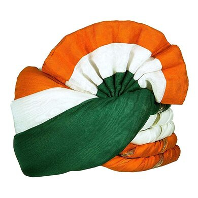 S H A H I T A J Cotton Tricolor or Tiranga Pagdi Safa or Turban for Kids and Adults (RT459)-ST21_22