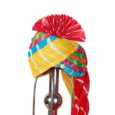 S H A H I T A J Traditional Rajasthani Multi-Colored Readymade Cotton Lehariya Barati Pagdi Safa or Turban for Kids and Adults (RT461)-ST15_18andHalf