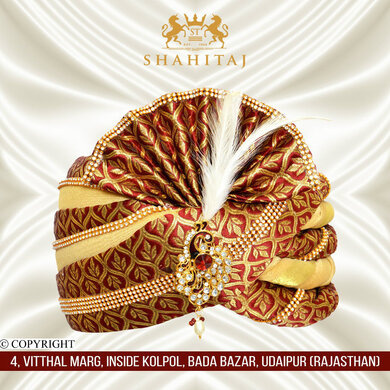 S H A H I T A J Traditional Rajasthani Brocade Red & Golden Wedding Groom or Dulha Pagdi Safa or Turban for Kids and Adults (RT462)-ST14_19andHalf