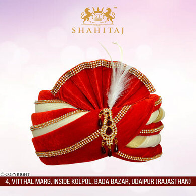 S H A H I T A J Traditional Rajasthani Velvet Red & White Wedding Groom or Dulha Pagdi Safa or Turban for Kids and Adults (RT463)-ST13_19