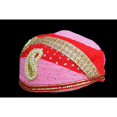 S H A H I T A J Traditional Rajasthani Cotton Mewadi Pagdi or Turban Multi-Colored for Kids and Adults (MT26)-18-4