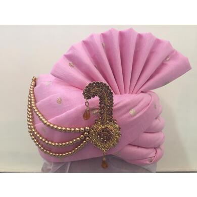 S H A H I T A J Traditional Rajasthani Wedding Pink Silk Groom or Dulha Pagdi Safa or Turban for Kids or Adults (RT464)-ST12_18andHalf