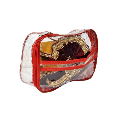 S H A H I T A J Traditional Rajasthani Readymade Velvet Velcro Adjustable Multi-Colored Foldable Pagdi Safa or Turban for Groom or Dulha (RT475)-21-3