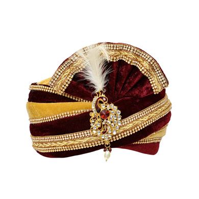 S H A H I T A J Traditional Rajasthani Readymade Velvet Velcro Adjustable Multi-Colored Foldable Pagdi Safa or Turban for Groom or Dulha (RT475)-ST595_21