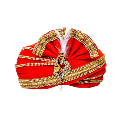 S H A H I T A J Traditional Rajasthani Readymade Velvet Velcro Adjustable Multi-Colored Foldable Pagdi Safa or Turban for Groom or Dulha (RT476)-ST596_21andHalf