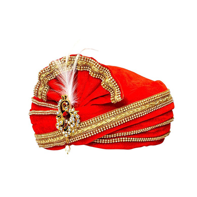 S H A H I T A J Traditional Rajasthani Readymade Velvet Velcro Adjustable Multi-Colored Foldable Pagdi Safa or Turban for Groom or Dulha (RT476)-21-4