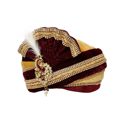 S H A H I T A J Traditional Rajasthani Readymade Velvet Velcro Adjustable Multi-Colored Foldable Pagdi Safa or Turban for Groom or Dulha (RT475)-21-4