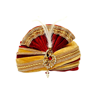 S H A H I T A J Traditional Rajasthani Readymade Velvet Velcro Adjustable Multi-Colored Foldable Pagdi Safa or Turban for Groom or Dulha (RT477)-ST597_22andHalf