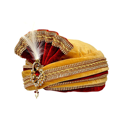 S H A H I T A J Traditional Rajasthani Readymade Velvet Velcro Adjustable Multi-Colored Foldable Pagdi Safa or Turban for Groom or Dulha (RT477)-21-4