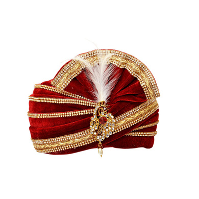 S H A H I T A J Traditional Rajasthani Readymade Velvet Velcro Adjustable Multi-Colored Foldable Pagdi Safa or Turban for Groom or Dulha (RT478)-ST598_22andHalf