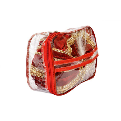 S H A H I T A J Traditional Rajasthani Readymade Velvet Velcro Adjustable Multi-Colored Foldable Pagdi Safa or Turban for Groom or Dulha (RT478)-21-3