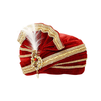 S H A H I T A J Traditional Rajasthani Readymade Velvet Velcro Adjustable Multi-Colored Foldable Pagdi Safa or Turban for Groom or Dulha (RT478)-21-4
