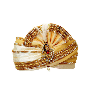 S H A H I T A J Traditional Rajasthani Readymade Velvet Velcro Adjustable Multi-Colored Foldable Pagdi Safa or Turban for Groom or Dulha (RT479)-ST599_21andHalf