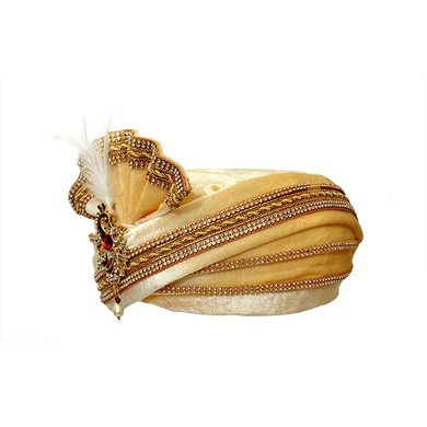 S H A H I T A J Traditional Rajasthani Readymade Velvet Velcro Adjustable Multi-Colored Foldable Pagdi Safa or Turban for Groom or Dulha (RT479)-21-4