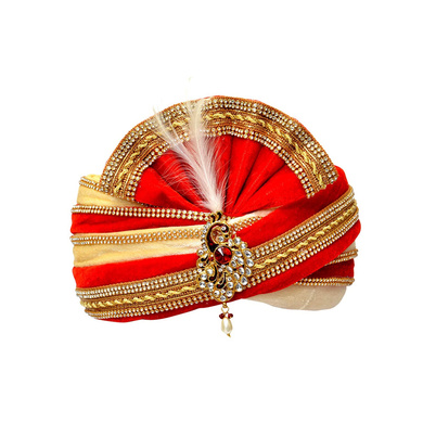 S H A H I T A J Traditional Rajasthani Readymade Velvet Velcro Adjustable Multi-Colored Foldable Pagdi Safa or Turban for Groom or Dulha (RT480)-ST600_22andHalf