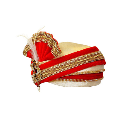 S H A H I T A J Traditional Rajasthani Readymade Velvet Velcro Adjustable Multi-Colored Foldable Pagdi Safa or Turban for Groom or Dulha (RT480)-21-4