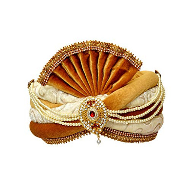S H A H I T A J Traditional Rajasthani Readymade Velvet Velcro Adjustable Multi-Colored Pagdi Safa or Turban for Groom or Dulha (RT481)-ST601_21andHalf