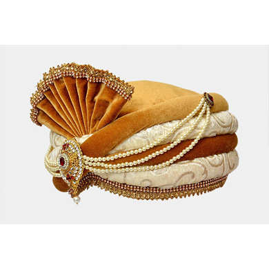 S H A H I T A J Traditional Rajasthani Readymade Velvet Velcro Adjustable Multi-Colored Pagdi Safa or Turban for Groom or Dulha (RT481)-21-3