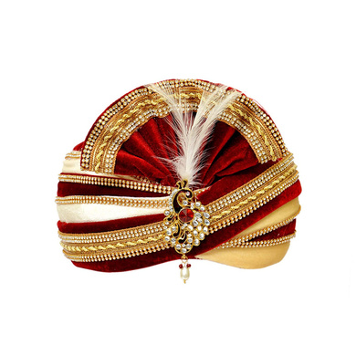 S H A H I T A J Traditional Rajasthani Readymade Velvet Velcro Adjustable Multi-Colored Foldable Pagdi Safa or Turban for Groom or Dulha (RT482)-ST602_22andHalf