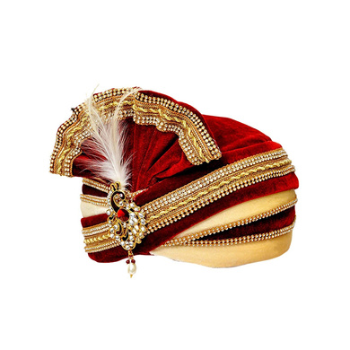 S H A H I T A J Traditional Rajasthani Readymade Velvet Velcro Adjustable Multi-Colored Foldable Pagdi Safa or Turban for Groom or Dulha (RT482)-21-4