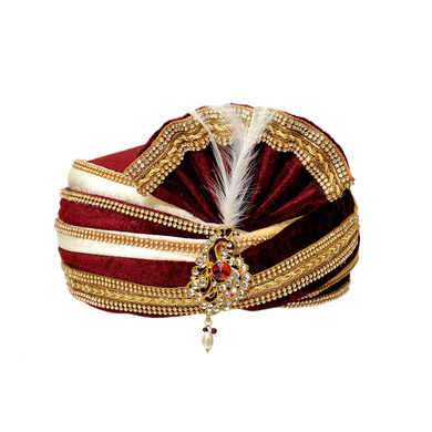 S H A H I T A J Traditional Rajasthani Readymade Velvet Velcro Adjustable Multi-Colored Foldable Pagdi Safa or Turban for Groom or Dulha (RT483)-ST603_22andHalf