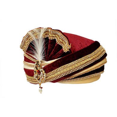 S H A H I T A J Traditional Rajasthani Readymade Velvet Velcro Adjustable Multi-Colored Foldable Pagdi Safa or Turban for Groom or Dulha (RT483)-21-4