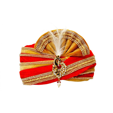 S H A H I T A J Traditional Rajasthani Readymade Velvet Velcro Adjustable Multi-Colored Foldable Pagdi Safa or Turban for Groom or Dulha (RT484)-ST604_21andHalf