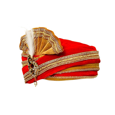 S H A H I T A J Traditional Rajasthani Readymade Velvet Velcro Adjustable Multi-Colored Foldable Pagdi Safa or Turban for Groom or Dulha (RT484)-21-4