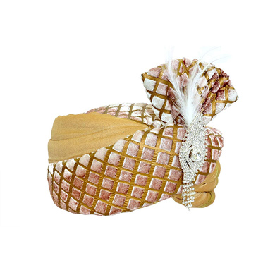 S H A H I T A J Traditional Rajasthani Velvet Golden Wedding Groom or Dulha Pagdi Safa or Turban for Kids and Adults (RT485)-18-4