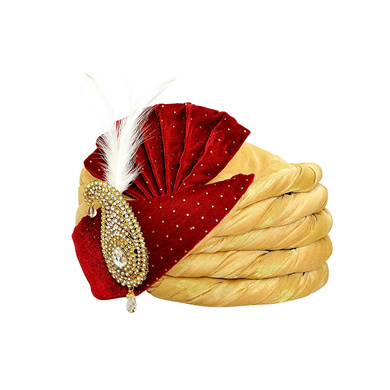 S H A H I T A J Traditional Rajasthani Velvet Red & Golden Wedding Groom or Dulha Pagdi Safa or Turban for and Kids or Adults (RT486)-18-4