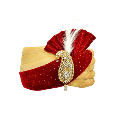S H A H I T A J Traditional Rajasthani Velvet Red & Golden Wedding Groom or Dulha Pagdi Safa or Turban for and Kids or Adults (RT486)-ST606_23andHalf