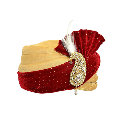 S H A H I T A J Traditional Rajasthani Velvet Red & Golden Wedding Groom or Dulha Pagdi Safa or Turban for and Kids or Adults (RT486)-18-3