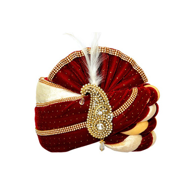 S H A H I T A J Traditional Rajasthani Velvet Red & White Wedding Groom or Dulha Pagdi Safa or Turban for and Kids or Adults (RT487)-ST607_18andHalf