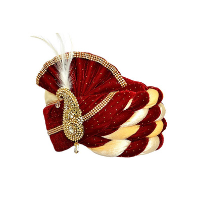 S H A H I T A J Traditional Rajasthani Velvet Red & White Wedding Groom or Dulha Pagdi Safa or Turban for and Kids or Adults (RT487)-18-3