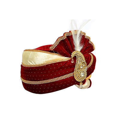 S H A H I T A J Traditional Rajasthani Velvet Red & White Wedding Groom or Dulha Pagdi Safa or Turban for and Kids or Adults (RT487)-18-4