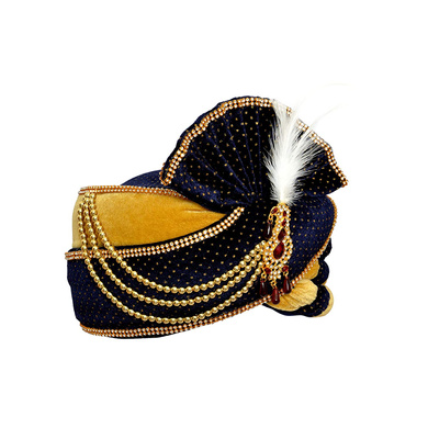 S H A H I T A J Traditional Rajasthani Velvet Blue & Golden Wedding Groom or Dulha Pagdi Safa or Turban for Kids and Adults (RT489)-18-4