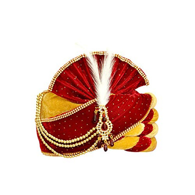 S H A H I T A J Traditional Rajasthani Velvet Red & Golden Wedding Groom or Dulha Pagdi Safa or Turban for Kids and Adults (RT490)-ST610_23andHalf