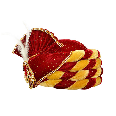 S H A H I T A J Traditional Rajasthani Velvet Red & Golden Wedding Groom or Dulha Pagdi Safa or Turban for Kids and Adults (RT490)-18-3
