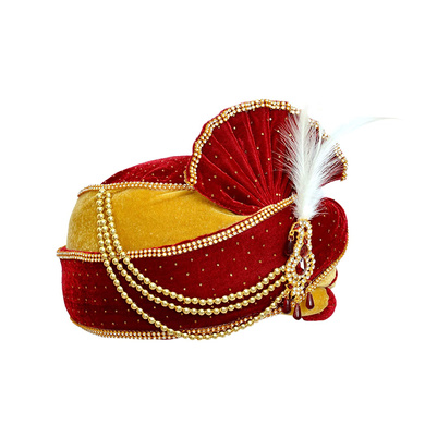 S H A H I T A J Traditional Rajasthani Velvet Red & Golden Wedding Groom or Dulha Pagdi Safa or Turban for Kids and Adults (RT490)-18-4