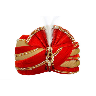 S H A H I T A J Traditional Rajasthani Velvet Red & Golden Wedding Groom or Dulha Pagdi Safa or Turban for Kids and Adults (RT491)-ST611_19andHalf