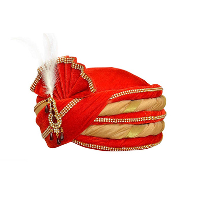S H A H I T A J Traditional Rajasthani Velvet Red & Golden Wedding Groom or Dulha Pagdi Safa or Turban for Kids and Adults (RT491)-18-3