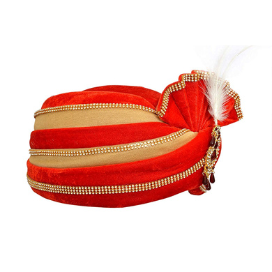 S H A H I T A J Traditional Rajasthani Velvet Red & Golden Wedding Groom or Dulha Pagdi Safa or Turban for Kids and Adults (RT491)-18-4