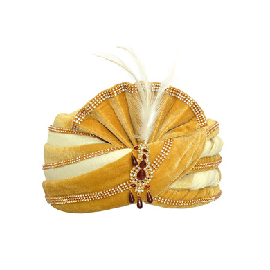 S H A H I T A J Traditional Rajasthani Velvet White & Golden Wedding Groom or Dulha Pagdi Safa or Turban for Kids and Adults (RT492)-ST612_19andHalf
