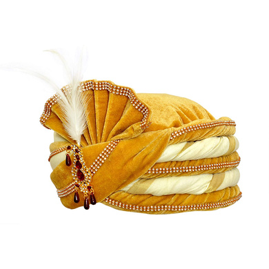 S H A H I T A J Traditional Rajasthani Velvet White & Golden Wedding Groom or Dulha Pagdi Safa or Turban for Kids and Adults (RT492)-18-3