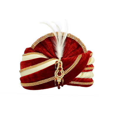 S H A H I T A J Traditional Rajasthani Velvet Red & White Wedding Groom or Dulha Pagdi Safa or Turban for Kids and Adults (RT493)-ST613_19andHalf