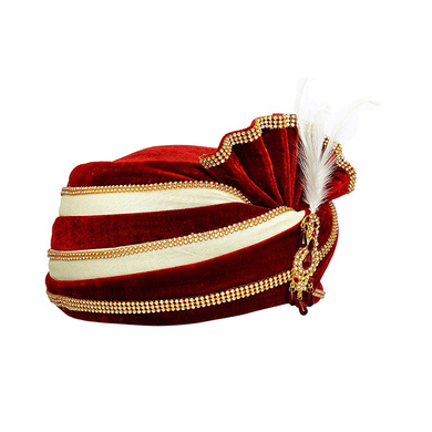 S H A H I T A J Traditional Rajasthani Velvet Red & White Wedding Groom or Dulha Pagdi Safa or Turban for Kids and Adults (RT493)-18-4