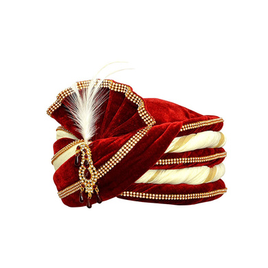S H A H I T A J Traditional Rajasthani Velvet Red & White Wedding Groom or Dulha Pagdi Safa or Turban for Kids and Adults (RT493)-18-3